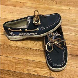 Women's black leopard sperry shoes 7